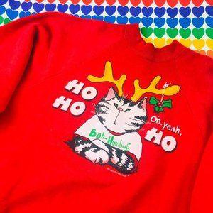 Vintage cat ugly christmas sweatshirt bah humbug